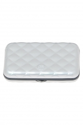 porte-cartes de credit ogon designs quilted button qb argent