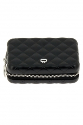 porte-cartes de credit ogon designs quilted zipper qz noir
