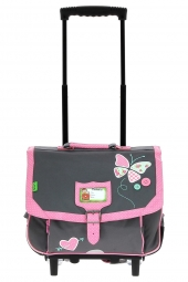 cartable trolley pour fille tanns butterfly t5but-tca38 gris