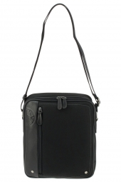 sac bandouliere david william d6174 toile et cuir noir