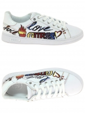 baskets mode guess crazy/active lady/leather blanc