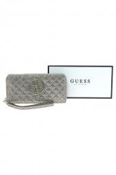 compagnon guess gioia slg large zip around gris