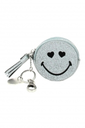 porte-monnaie porte-cle lollipops 24142 smiley glitter purse argent
