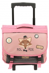 cartable trolley pour fille pol fox trca38-revtc-reverse rose